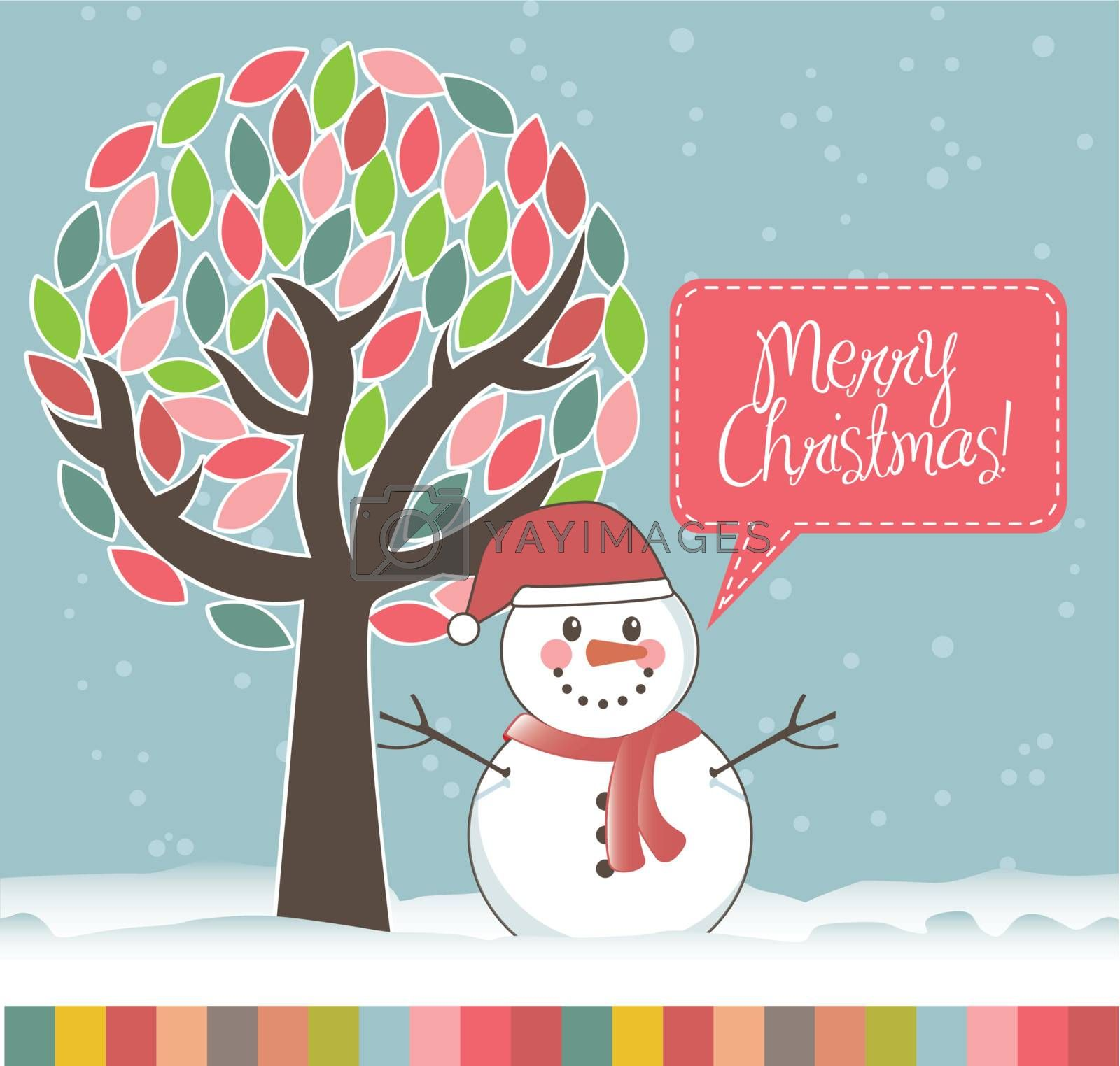 christmas card with snowan and tree. vector illustration