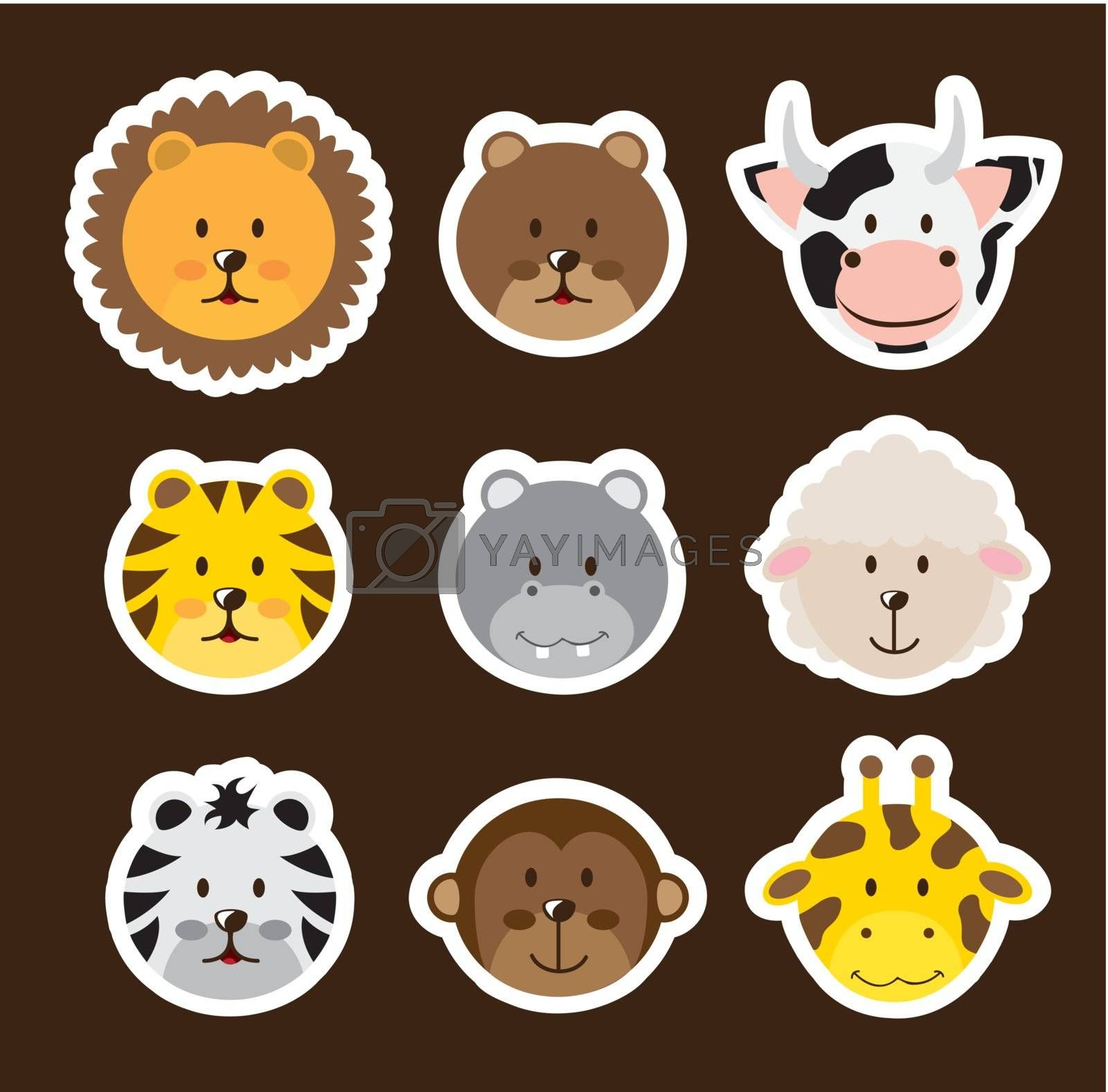 cute faces animals over brown background. vector illustration