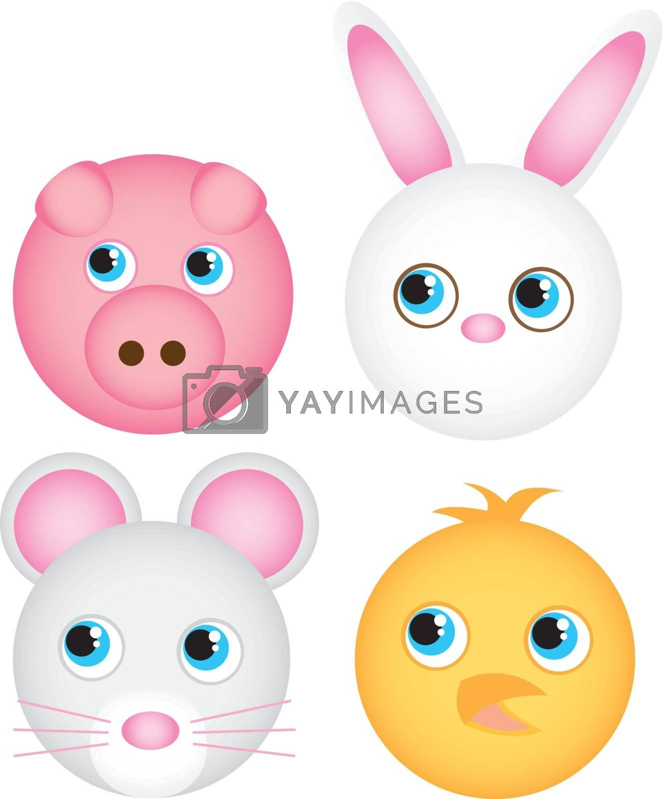 cute animals faces isolated over white background. vector