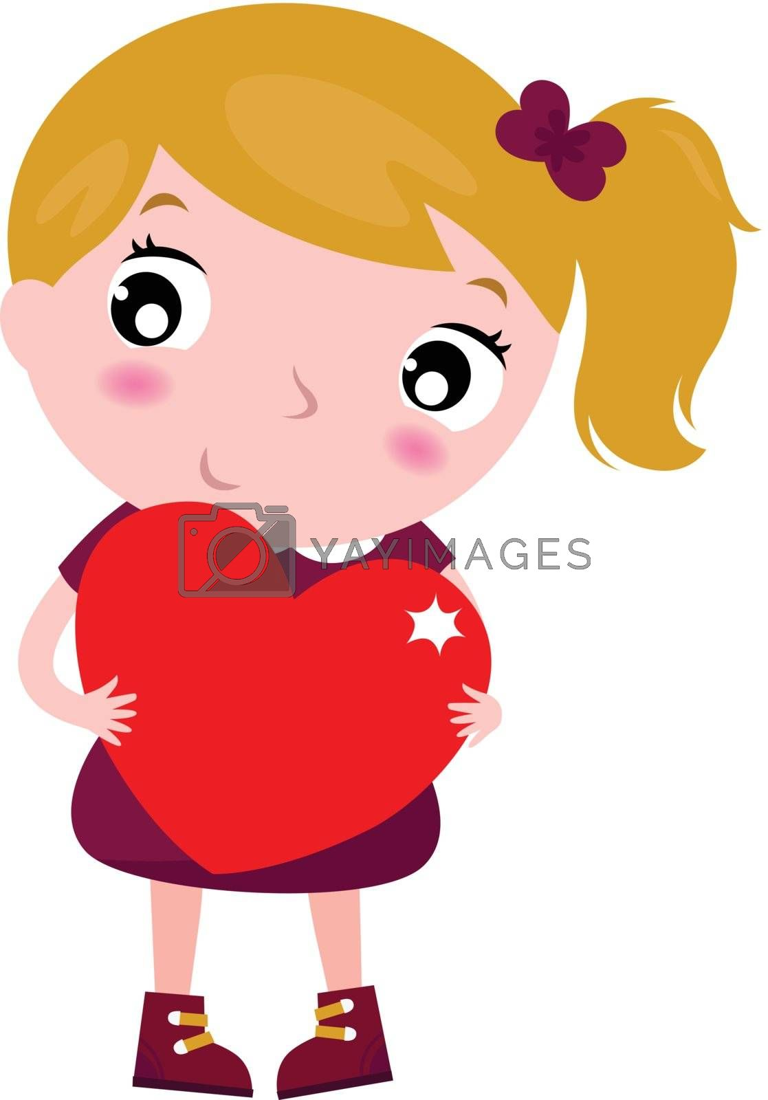 Beautiful little girl with heart. Vector cartoon Illustration