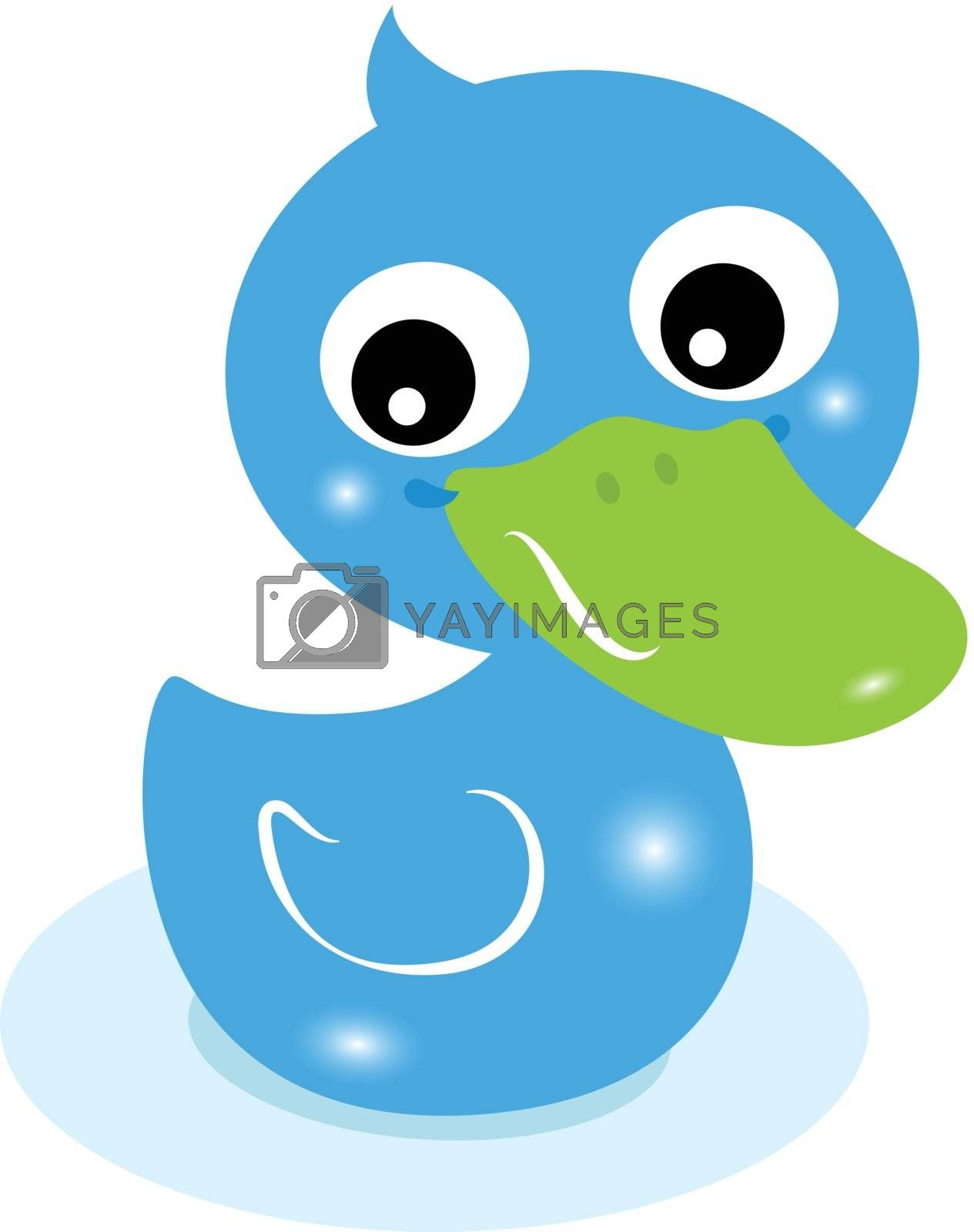 Cartoon swimming duck for baby boy. Vector Illustration