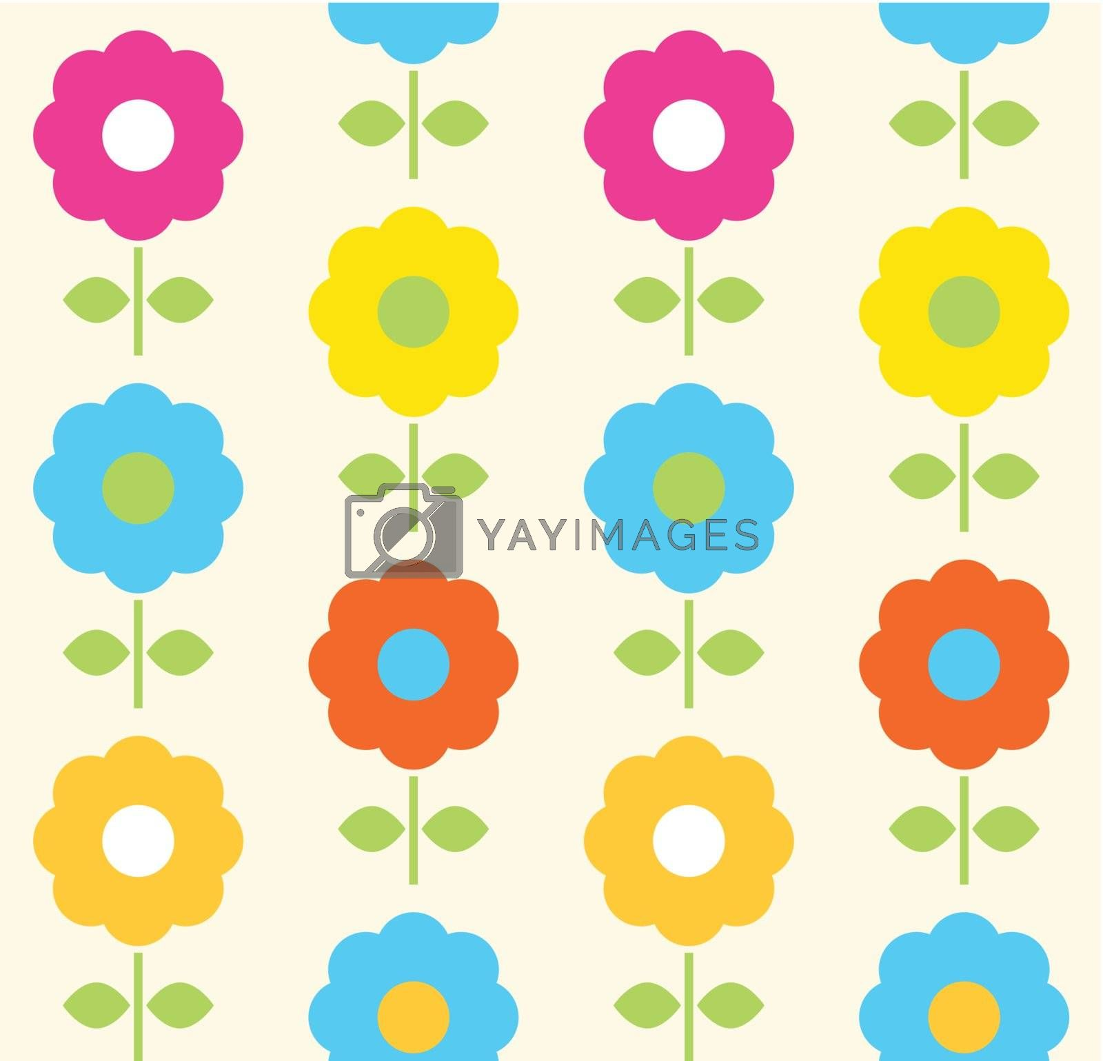 Floral seamless pattern with colorful flowers. Vector