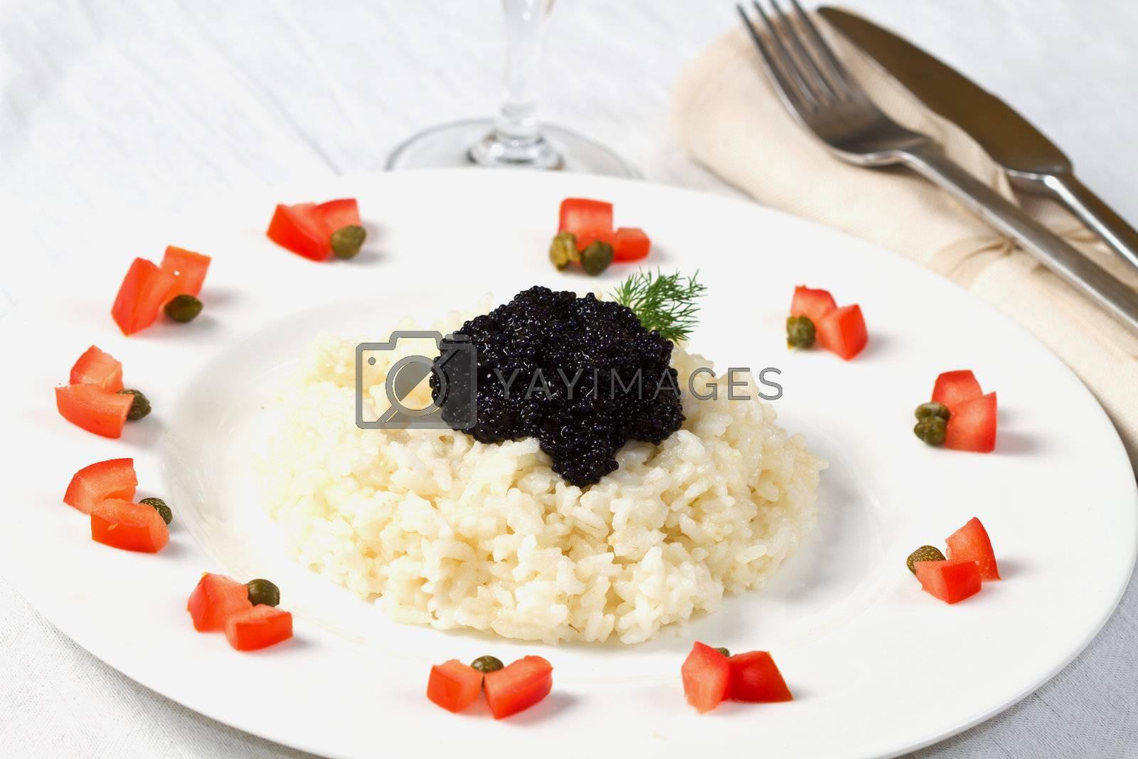 rice with black caviar