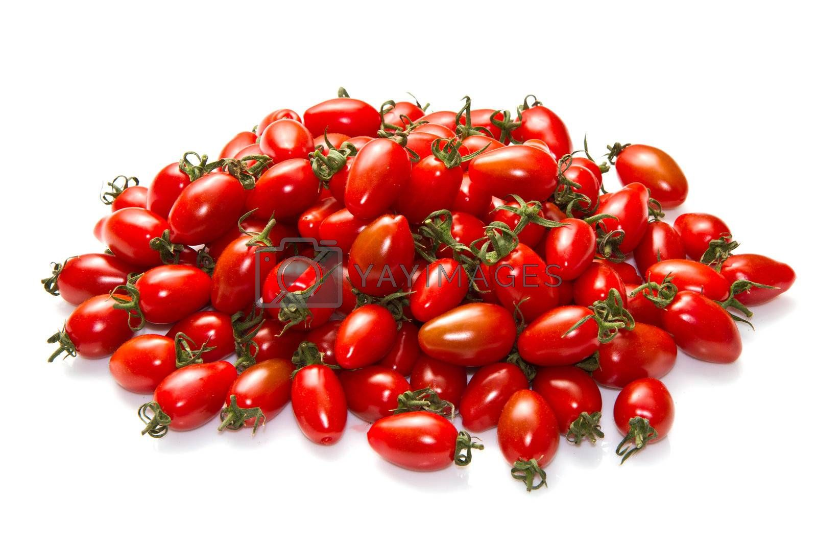 group of fresh red tomatoes isolated on white background