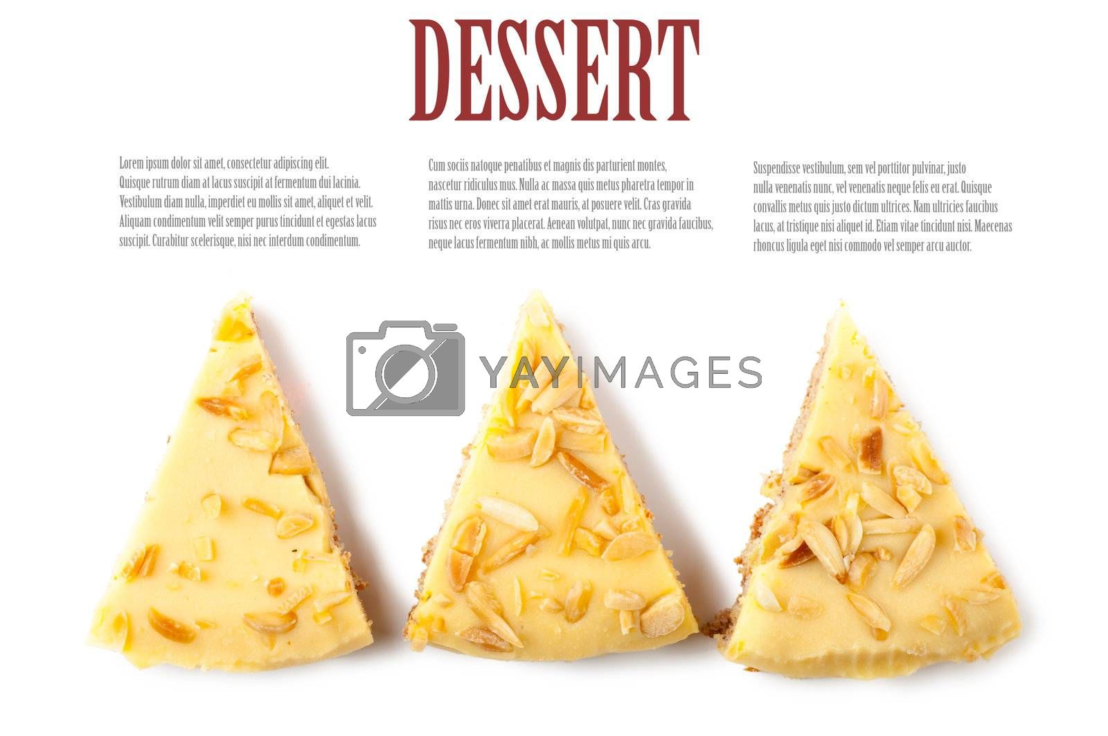 Top view of three pieces of a pie over white background