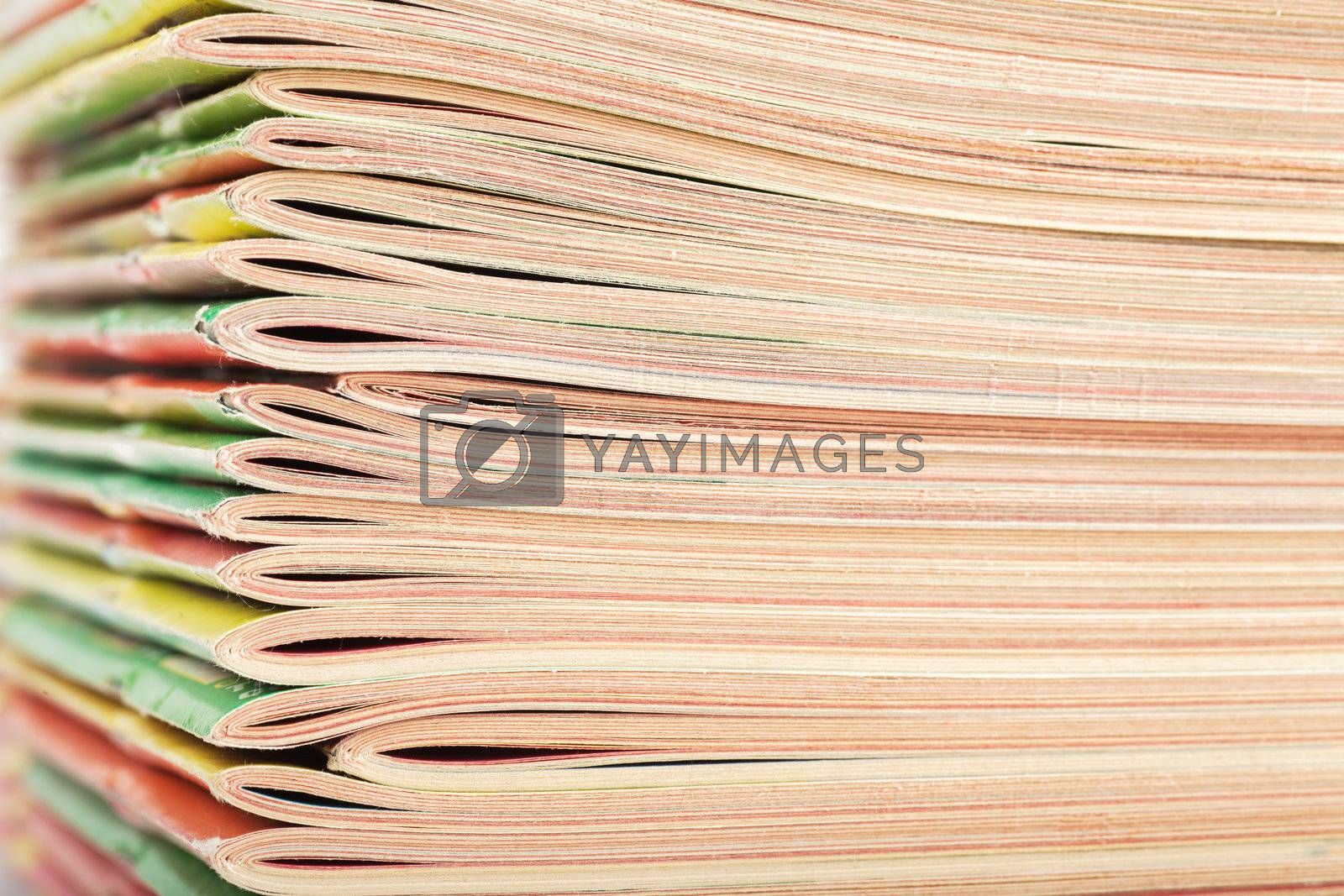 Closeup view of big stack of magazines