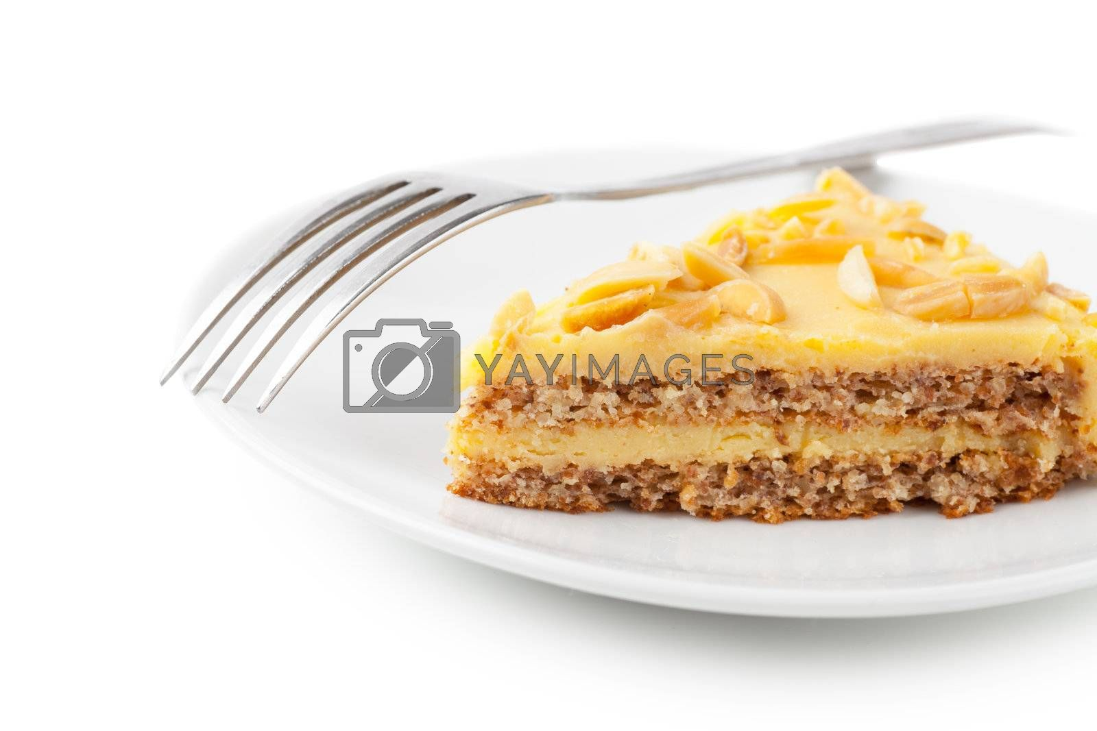 Closeup view of piece of sweet pie on a white plate