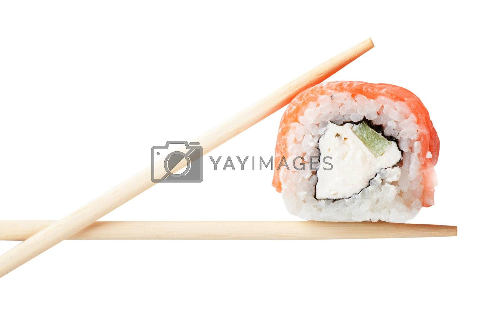 Close up top view of sushi isolated over white background