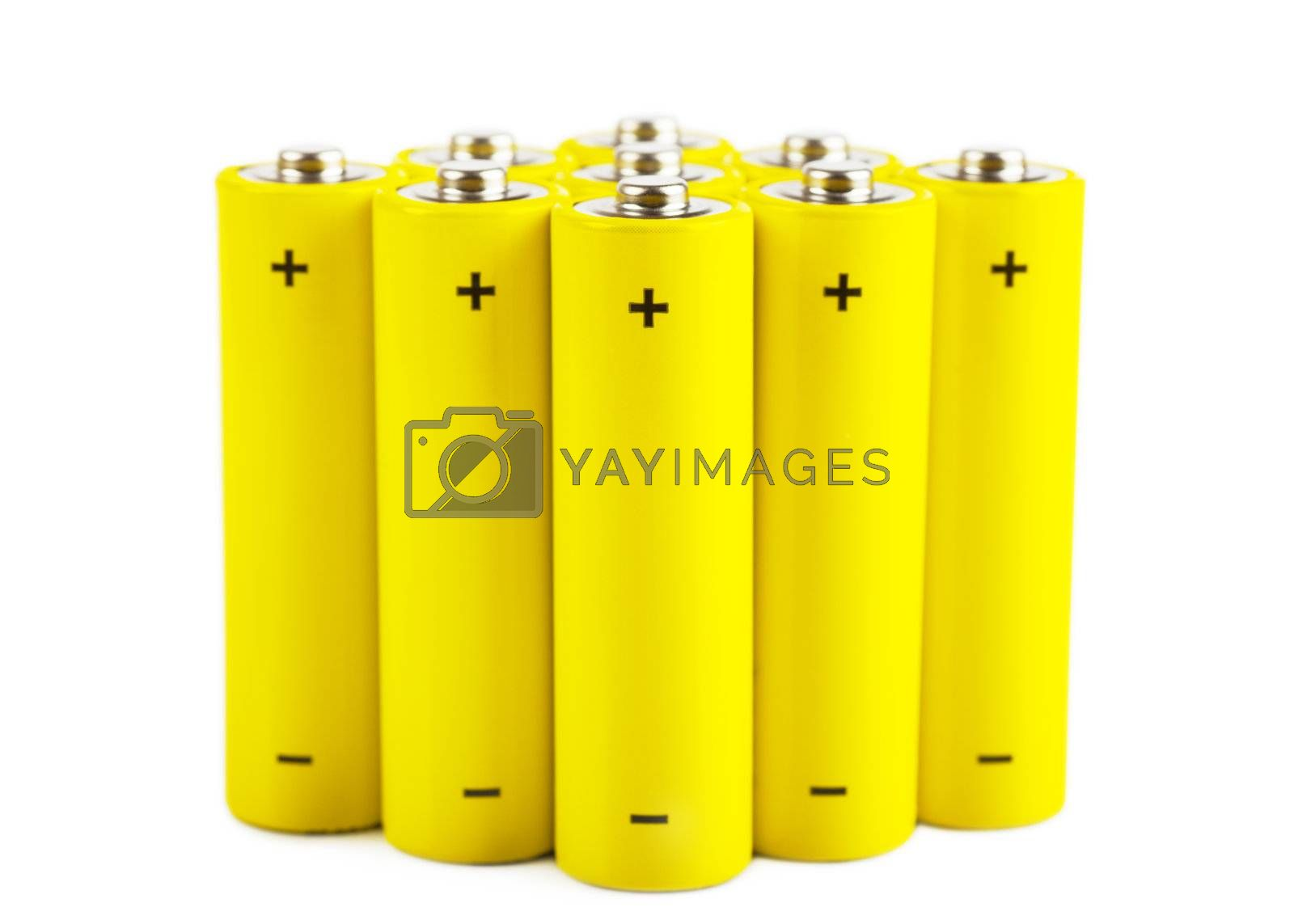 Yellow batteries isolated over white background