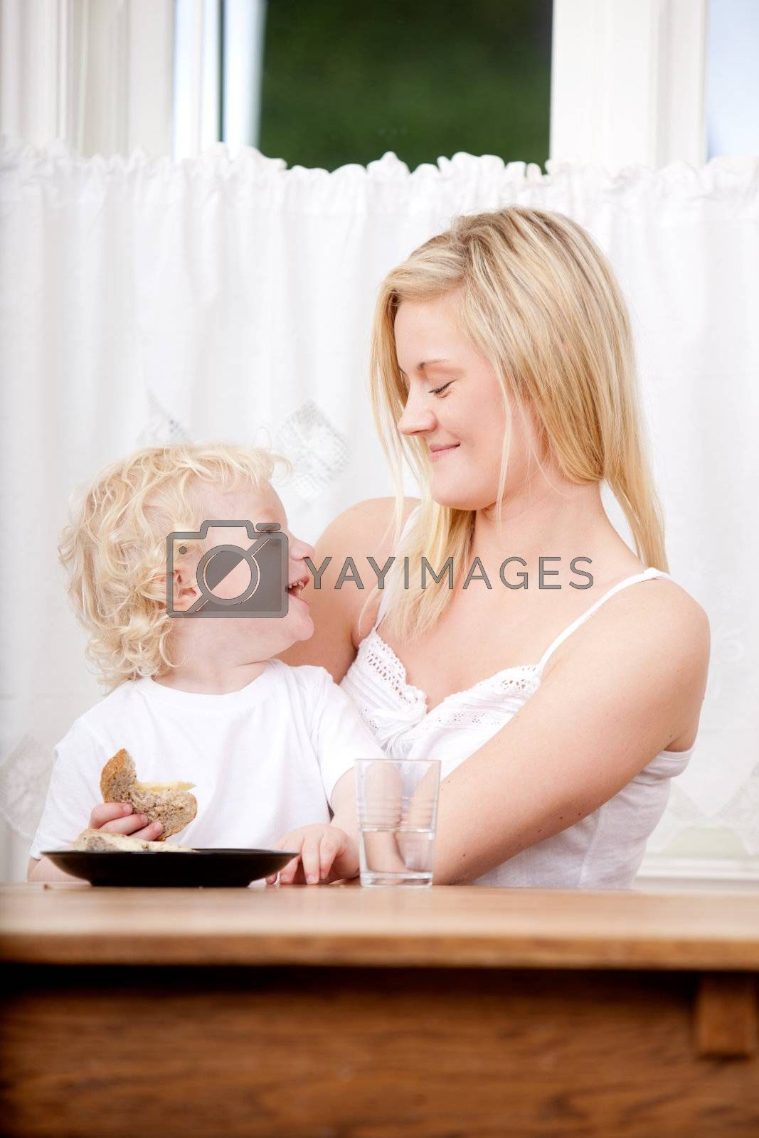 Mother Son Laugh by leaf