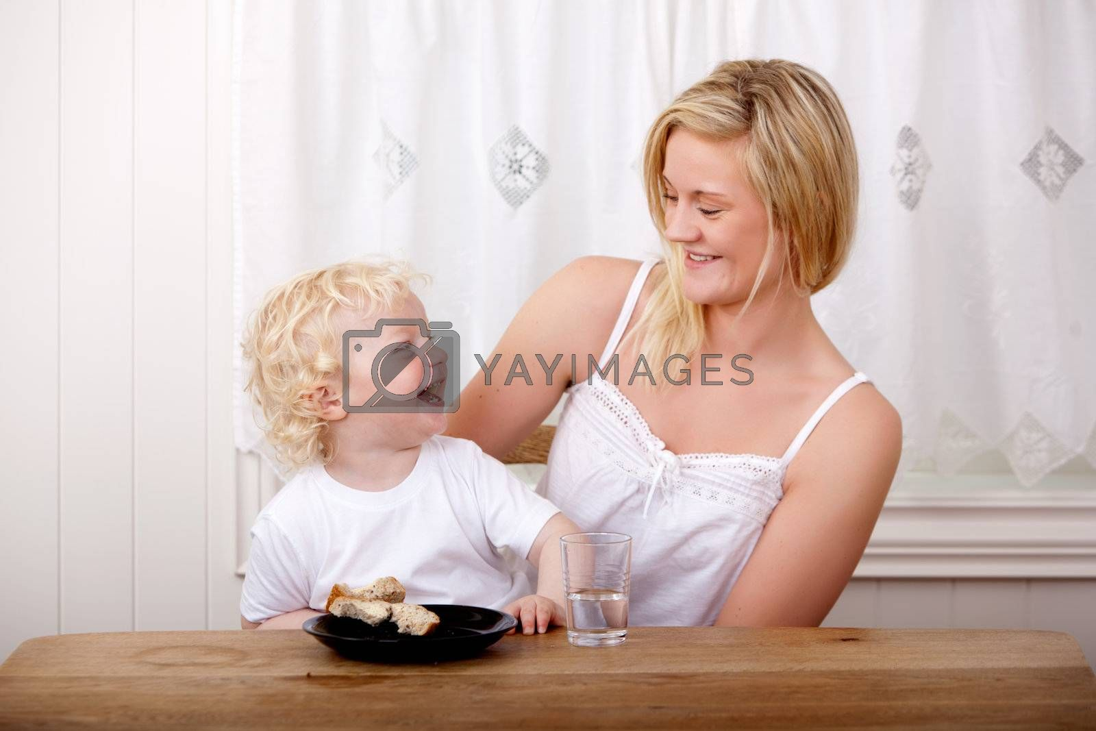 Mother and Son Laughing by leaf