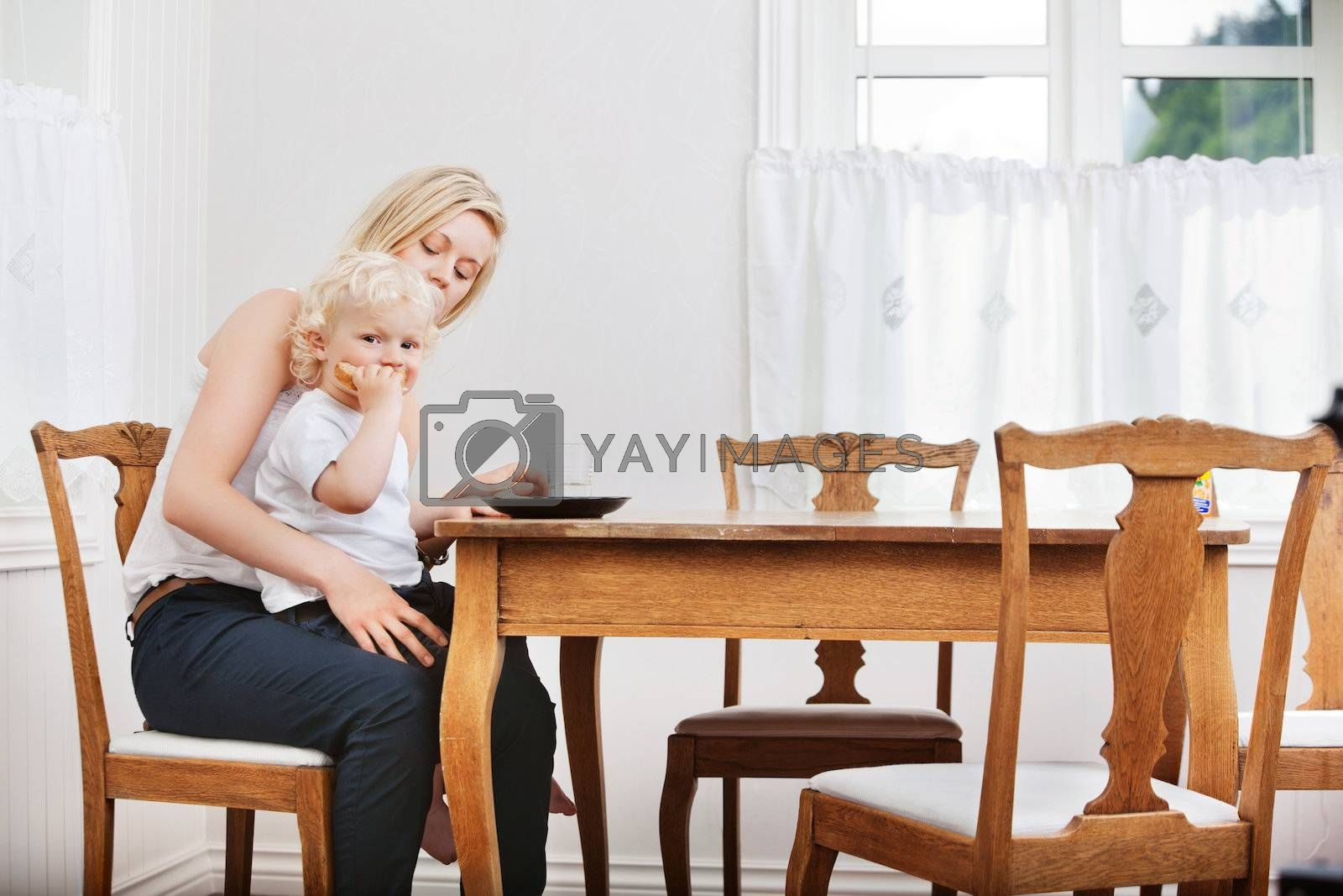 Portrait of baby boy eating bread while sitting on mother's lap at dining table
