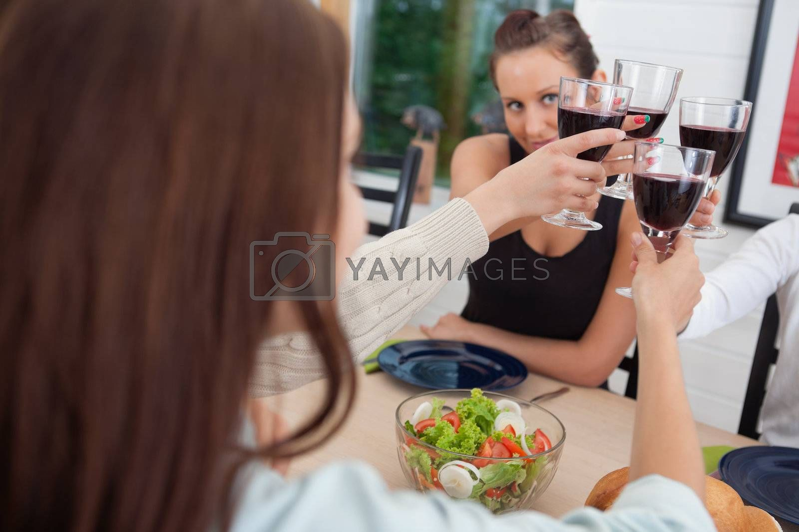 Group of happy female friends toasting together