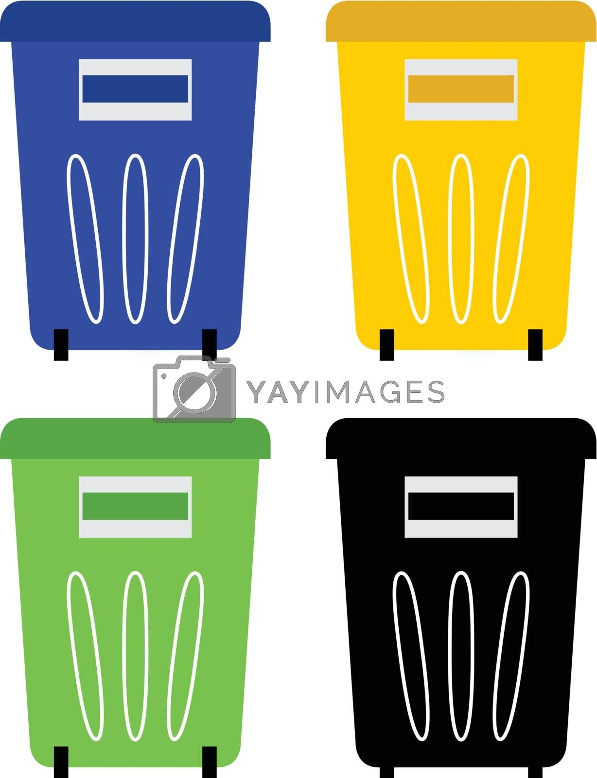 Colorful recycle bins for garbage separation. Vector