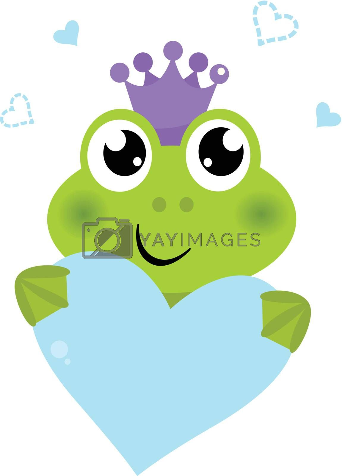 Funny frog Prince with love Heart. Vector cartoon Illustration