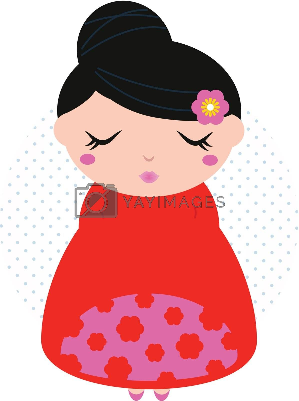 Pink and red japanese girl with black hair in dotted circle. Vector