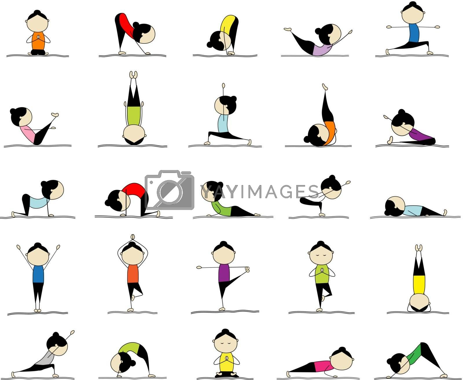 Woman practicing yoga, 25 poses for your design