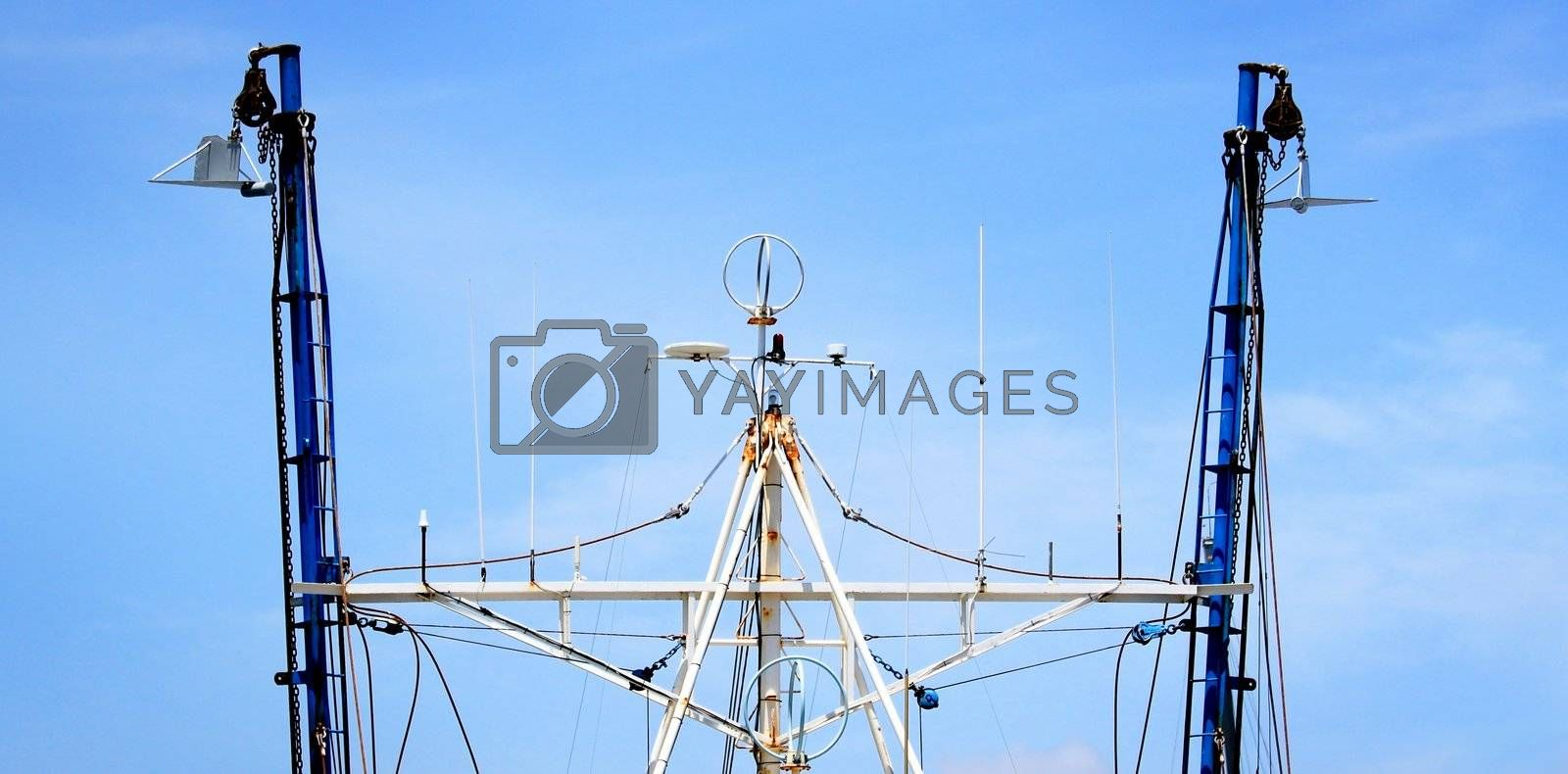 Top view of a fishing boat with rigging.