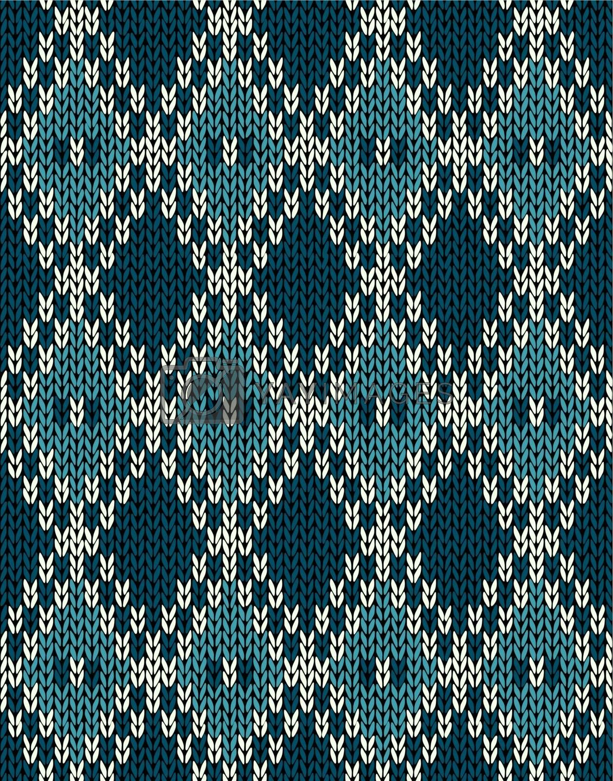 Knit Woolen Seamless Jacquard Ornament Pattern. Fabric Dark Blue by ESSL