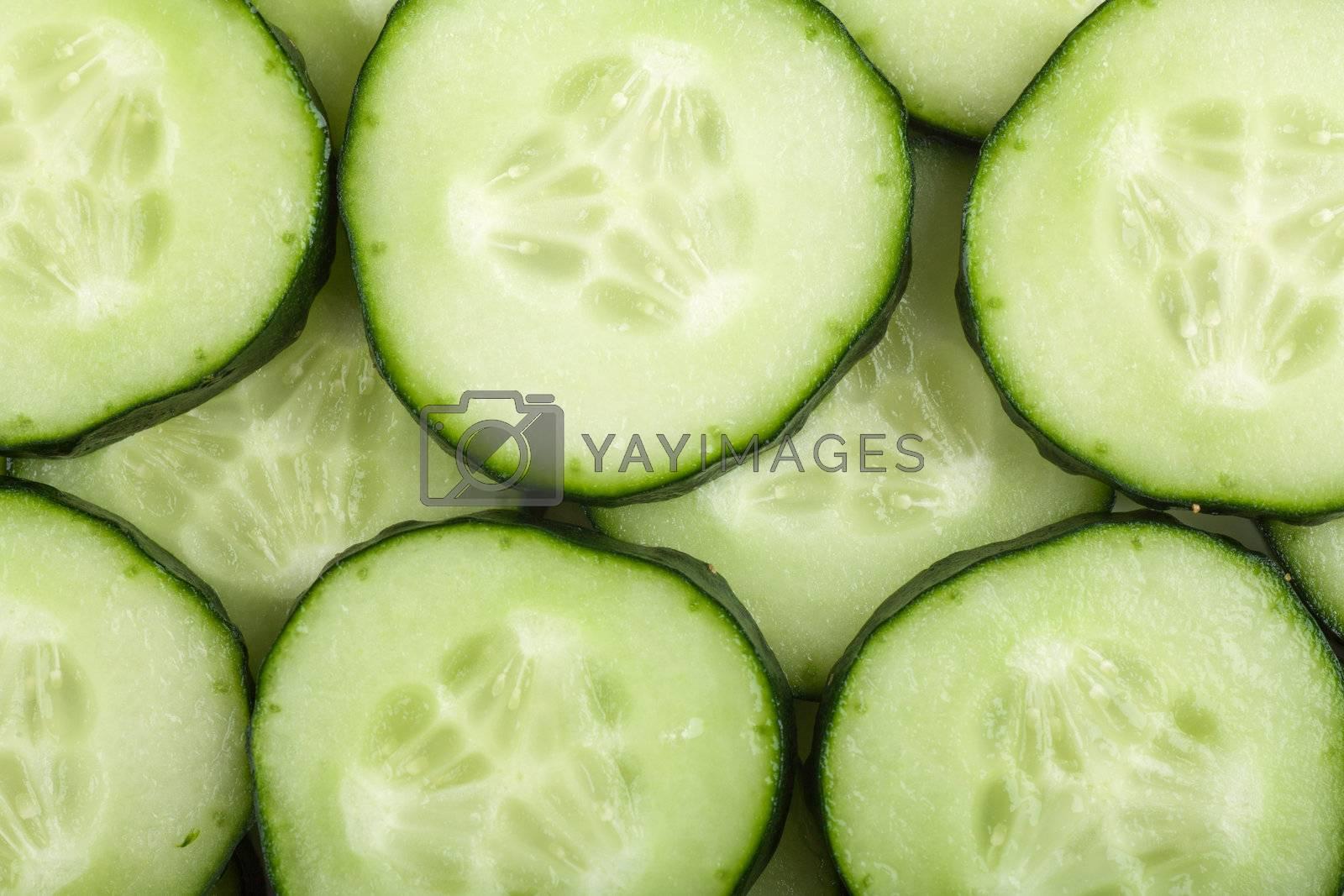 Macro view of cucumber slices