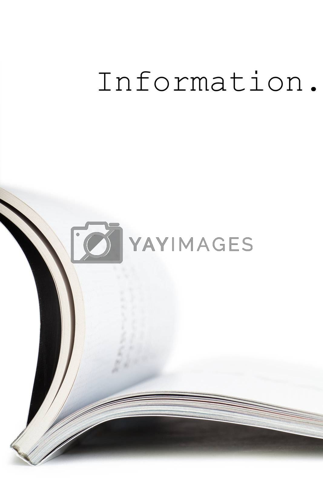 Selective focus image of magazine in profile