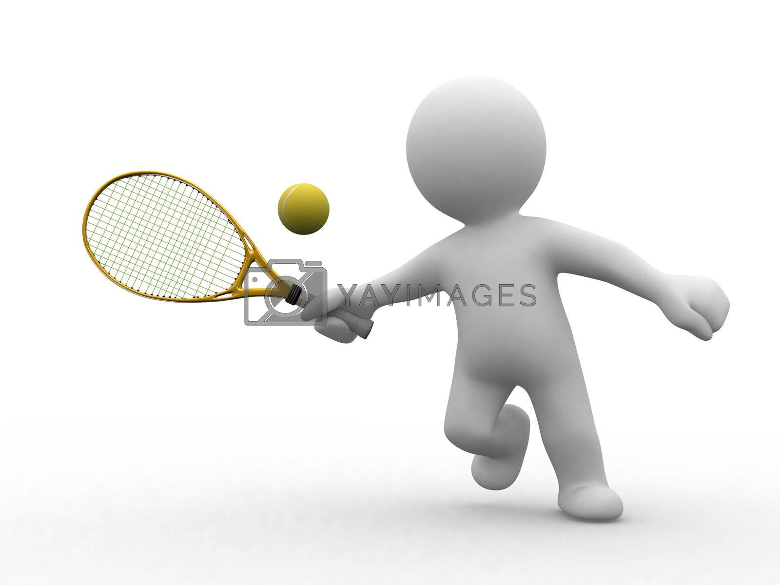 3d tennis people by koun