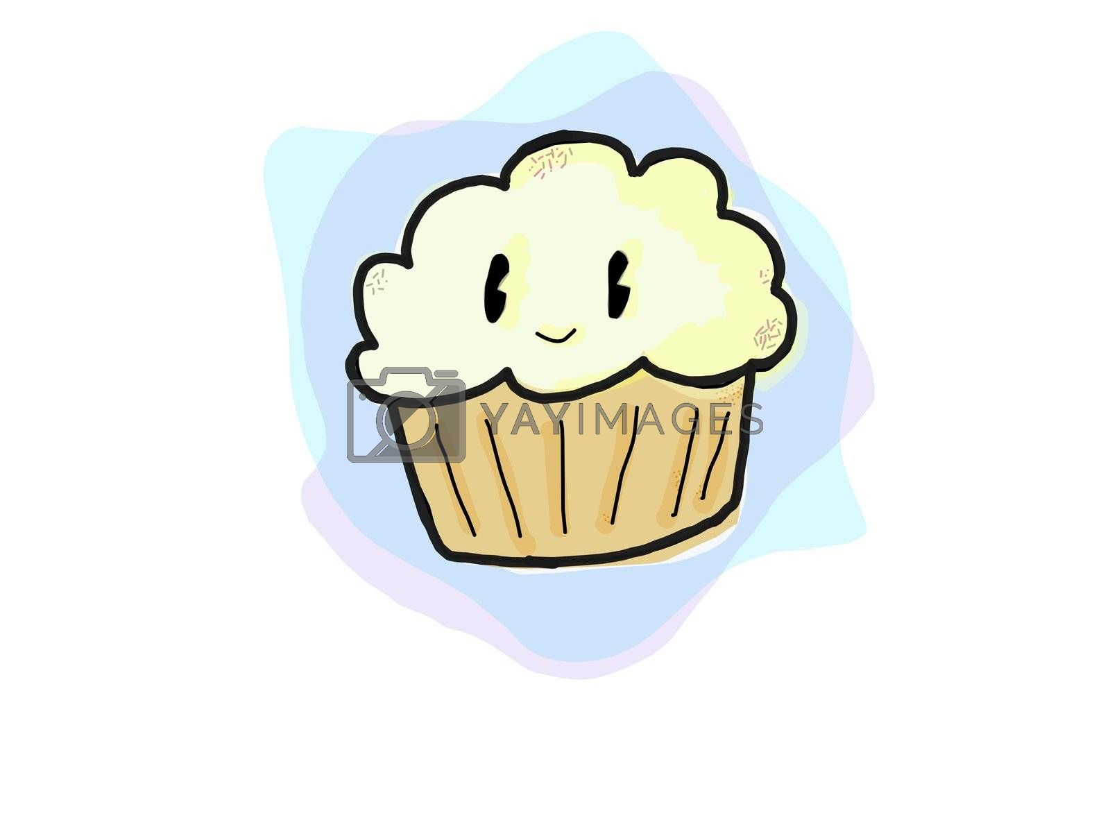 A cute kawaii illustration of a buttercream frosting cupcake.