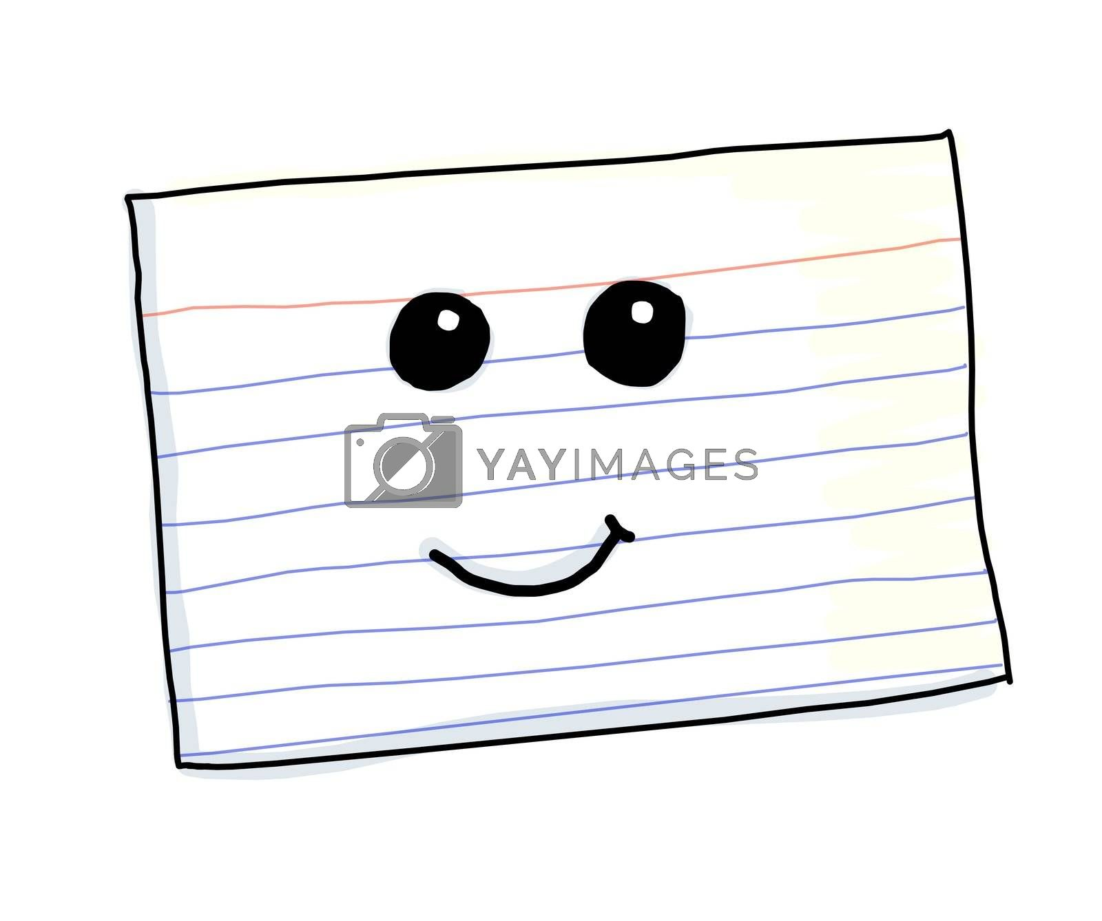 An illustration of a kawaii index card with a cute smirk.
