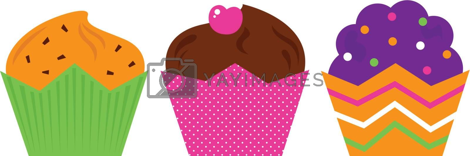 Cute colorful Muffin set. Vector cartoon Illustration
