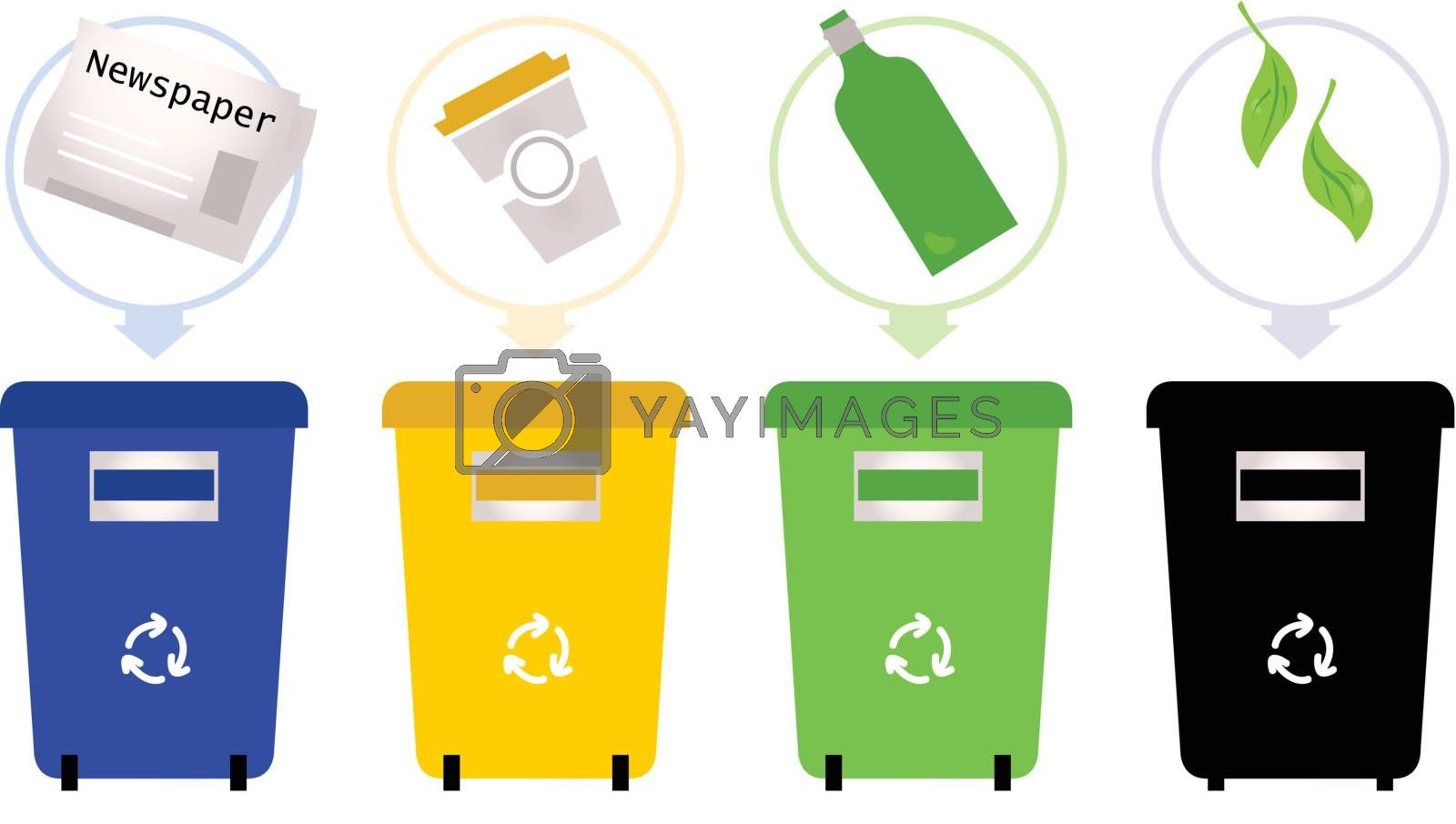 Set of recycle trash bins. Vector Illustration