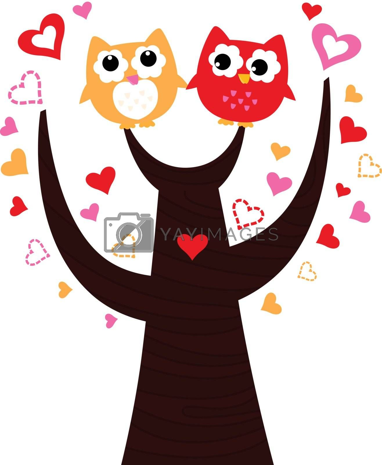 Sweet Owl couple in love. Vector cartoon Illustration