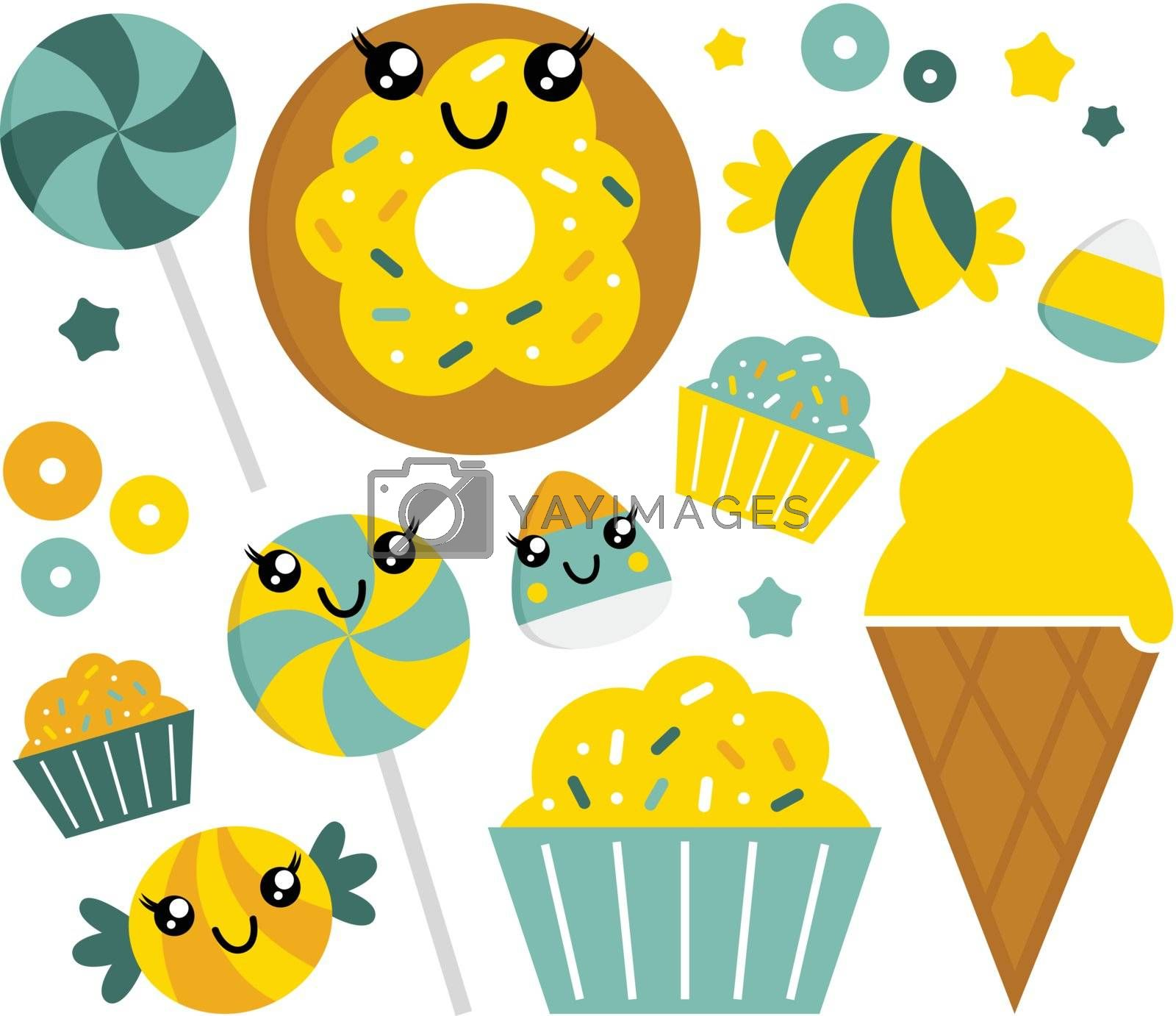 Sweet candy collection. Vector Illustration