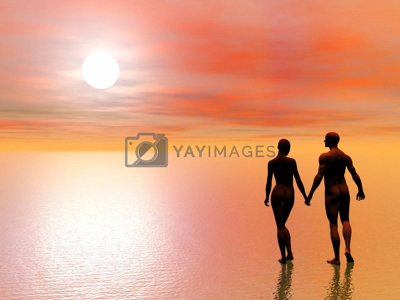 Couple romance - 3D render by Elenaphotos21