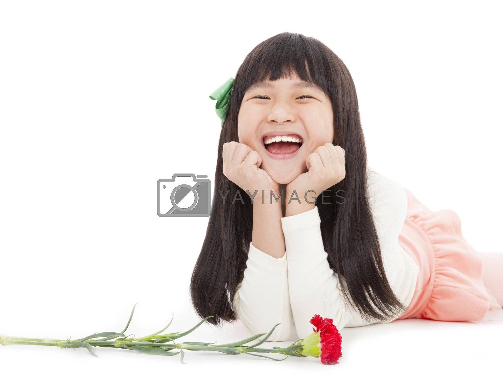 happy little girl with carnation flower for mothers day