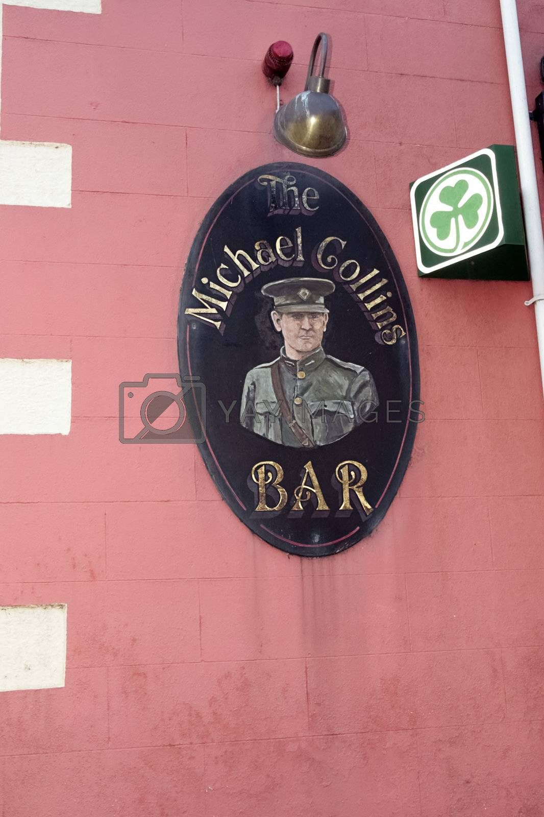 a sign for the Michael Collins bar in Ireland
