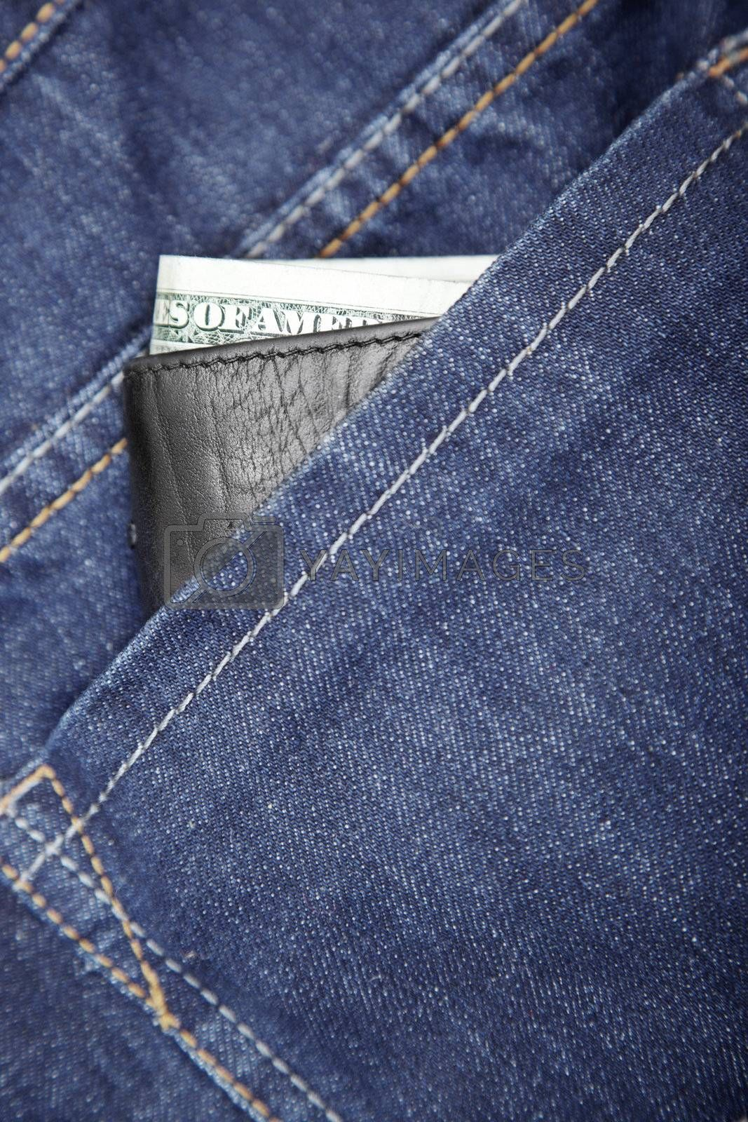 Wallet with dollars in the jeans pocket. Close-up photo