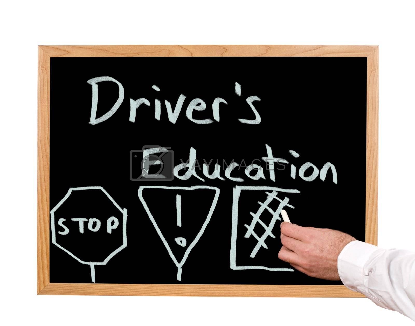 Driver's education is written in chalk on a chalkboard.