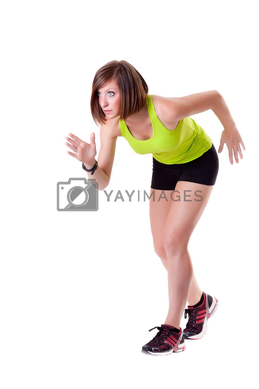 young beautiful sport woman ready for a race isolated on white background