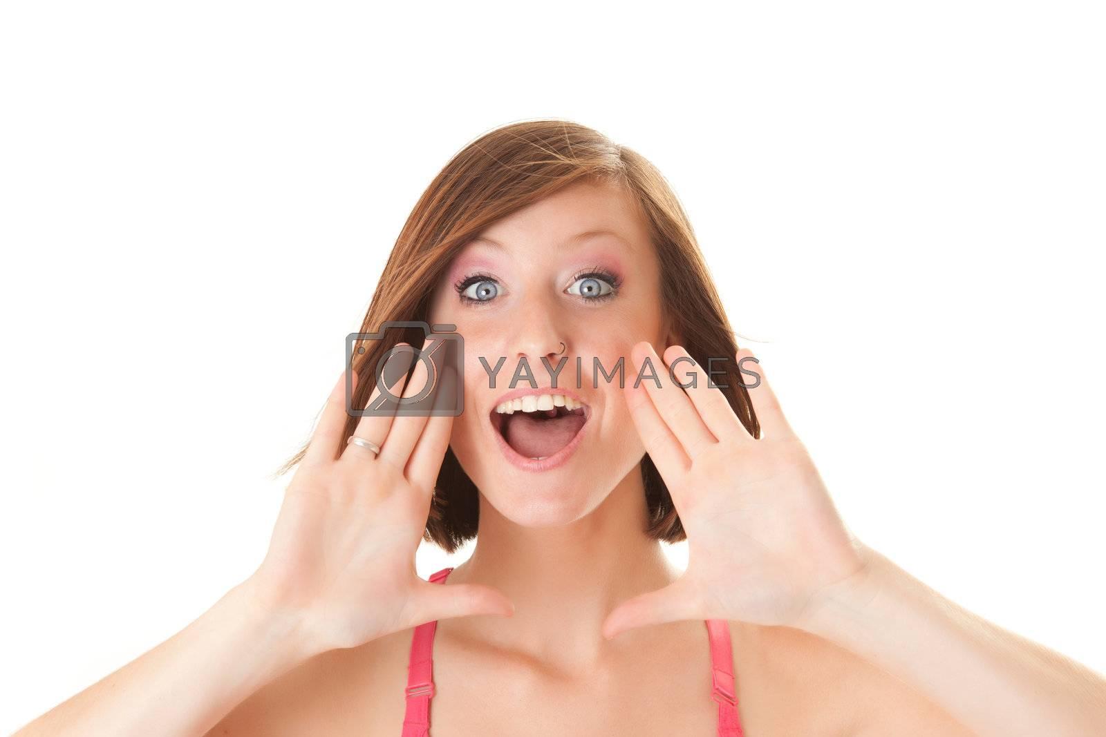 young beautiful woman screams