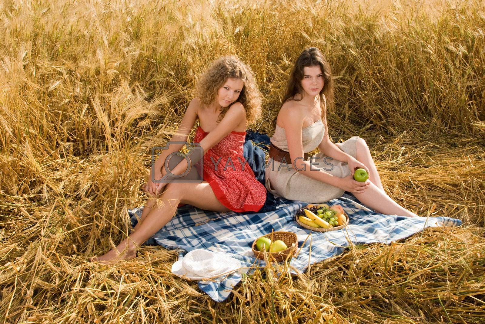 Two beautiful slavonic girls on picnic in wheat field