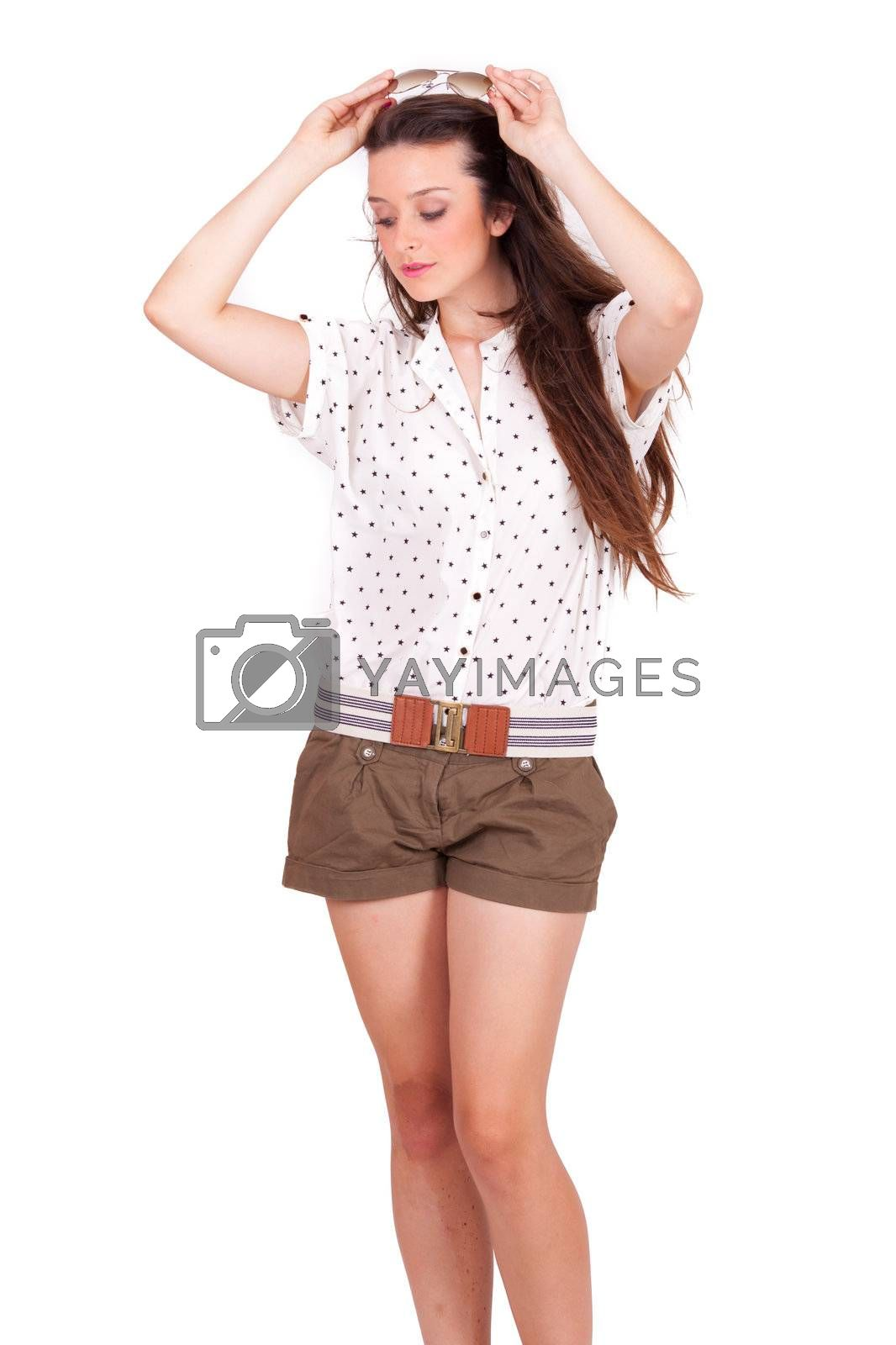 isolated portrait young women smiling on white background