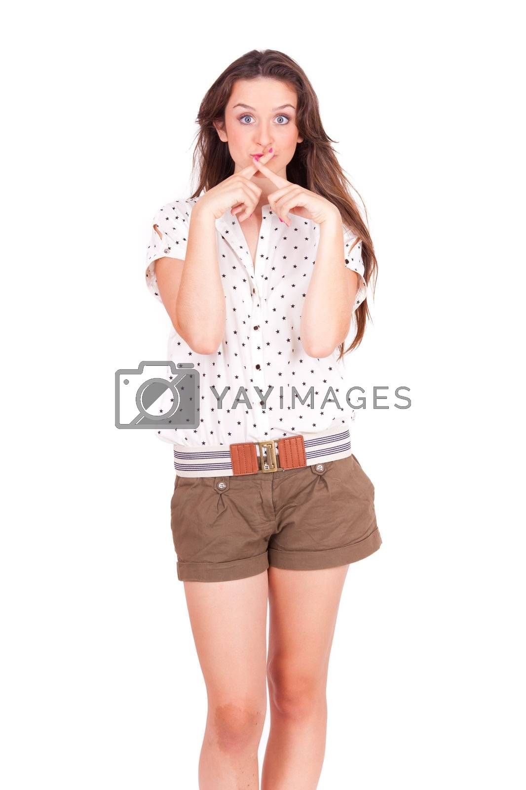 young beautiful women don't tell a secret on white background