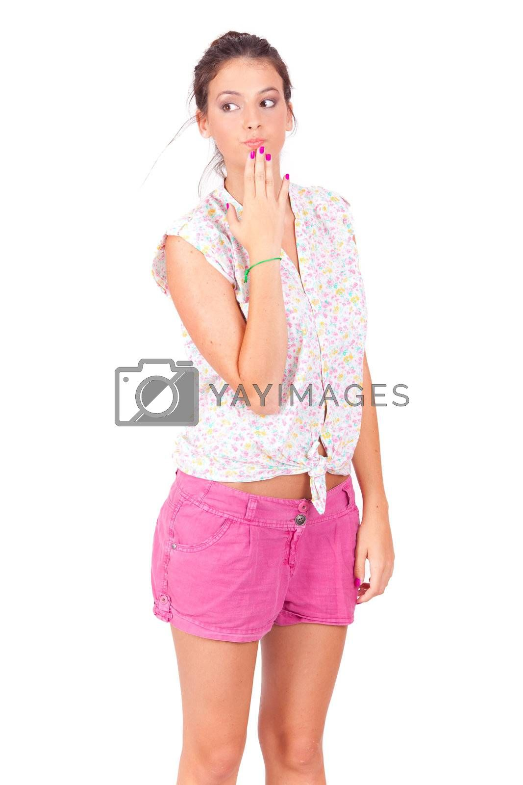 young beautiful women surprising on white background