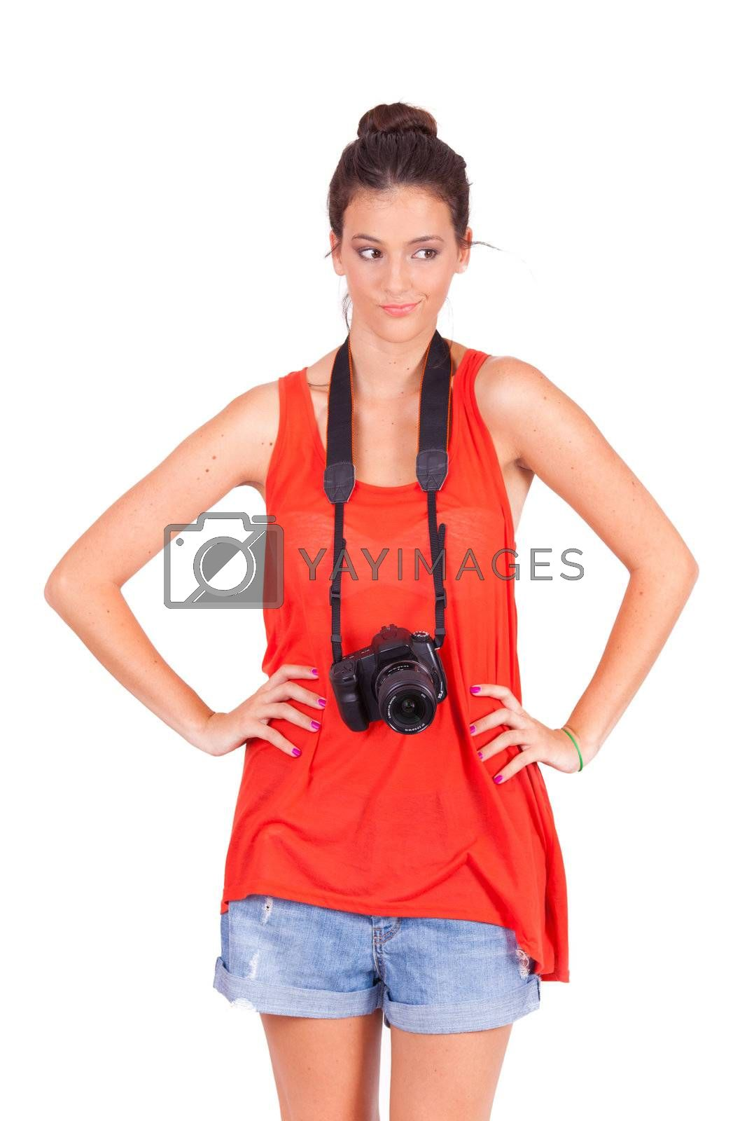 young female photograper isolated on white background