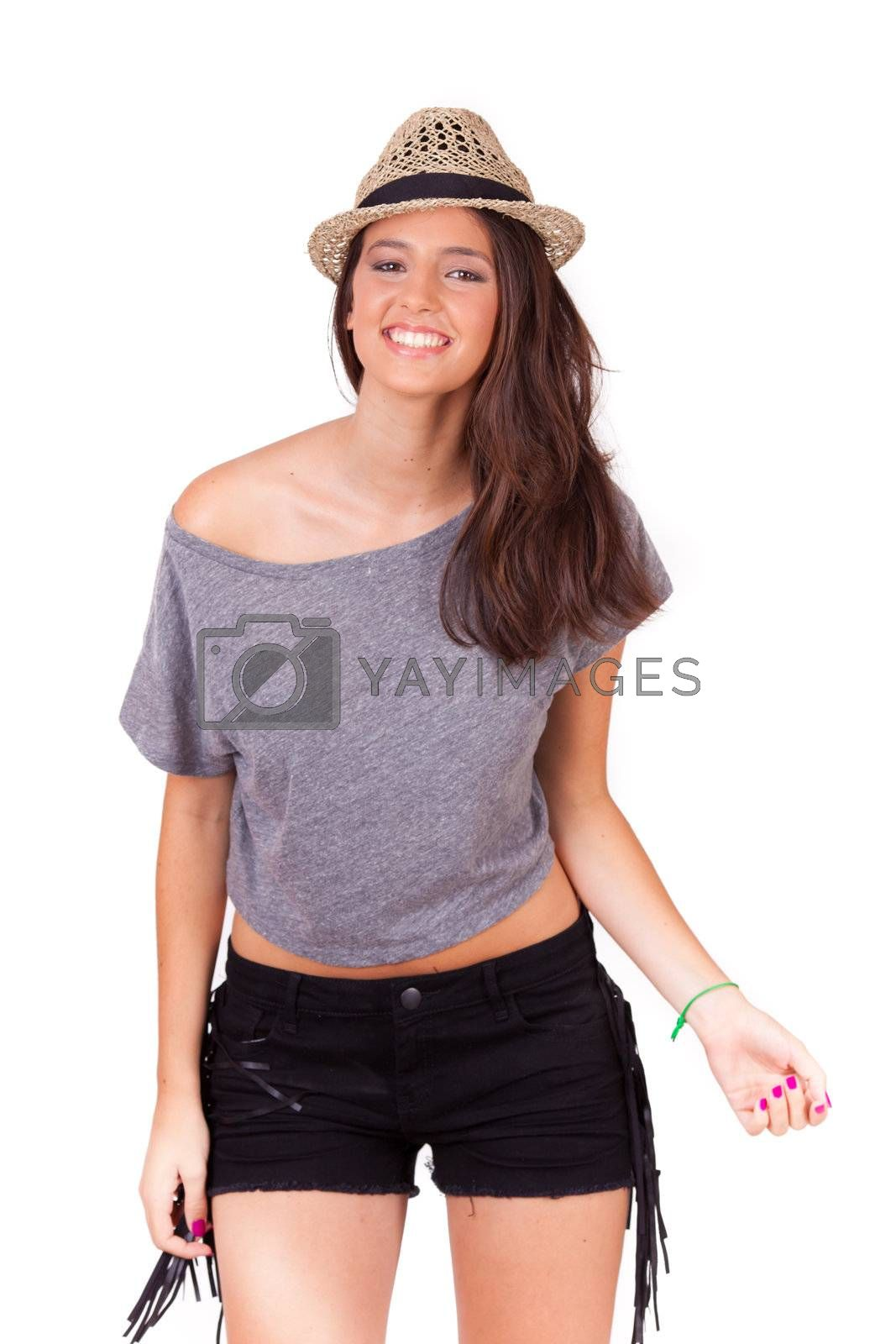 young women smiling with a hat on white background