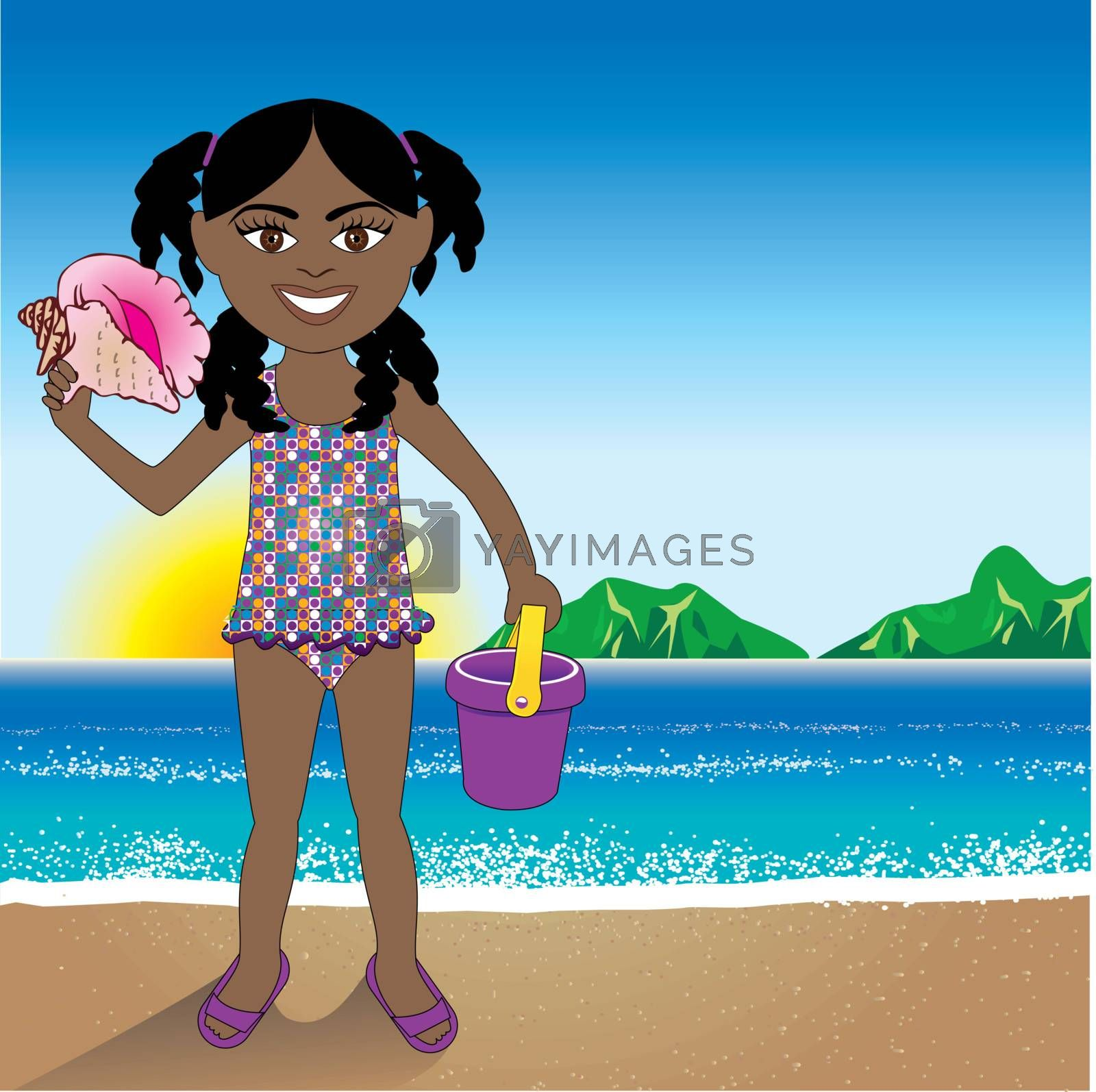 Vector Illustration of a Conch Shell girl with a Beach Background.
