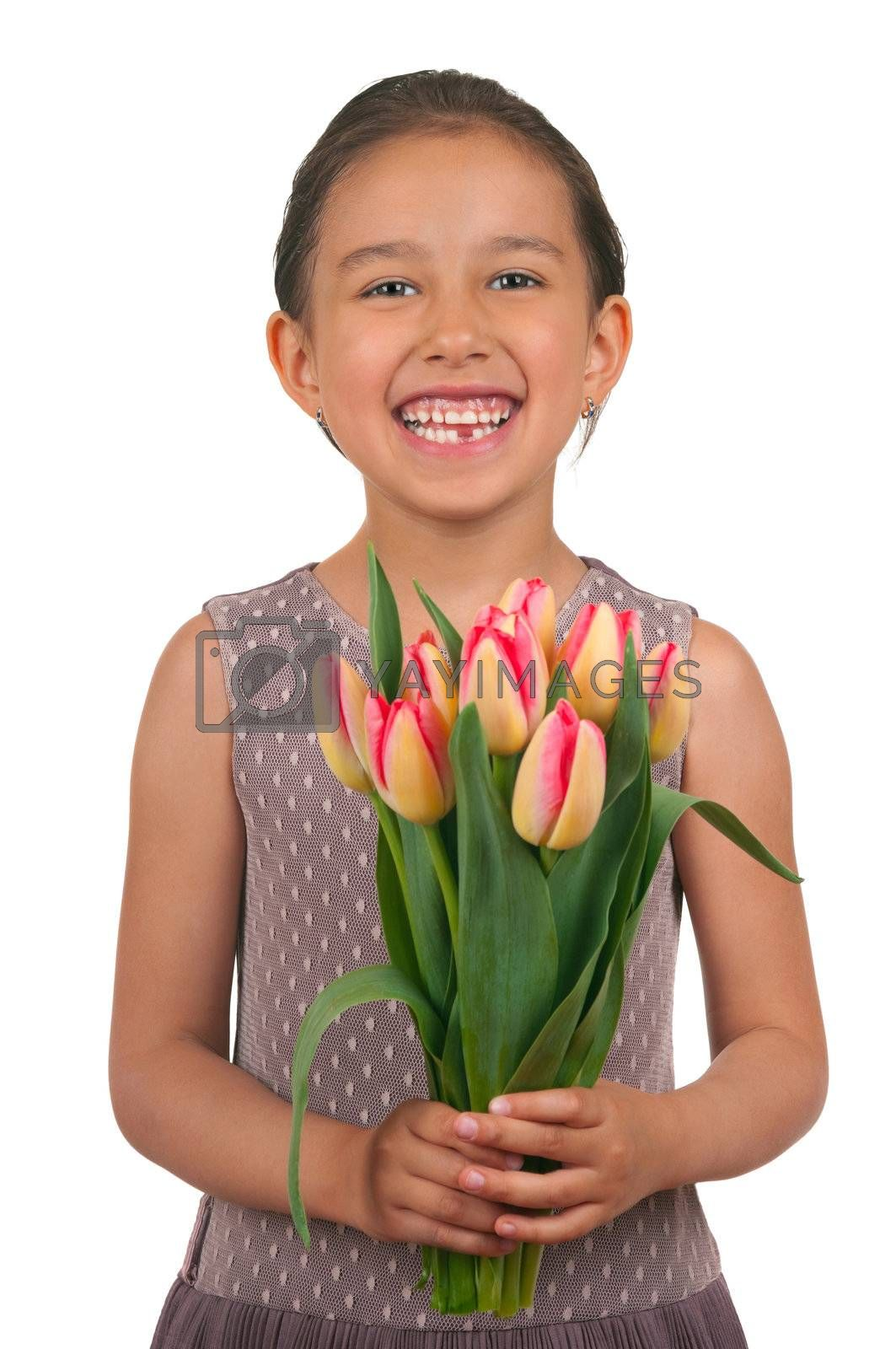 Beautiful little girl giving flowers for mothers day or birthday