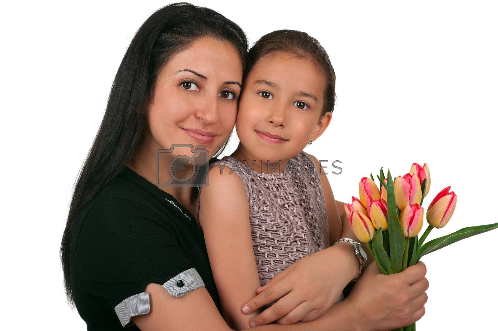Beautiful girl and her mother celebrating mothers day