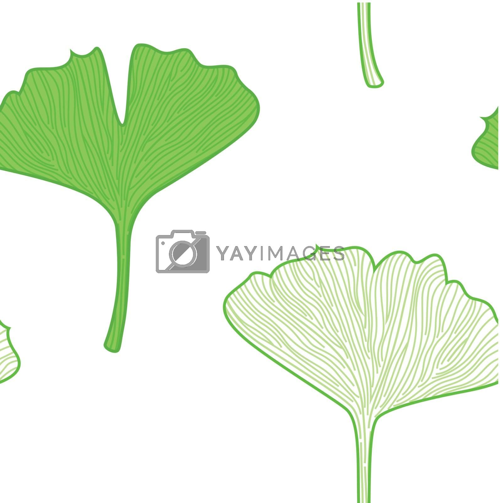 Seamless Gingko biloba leaves. Vector background