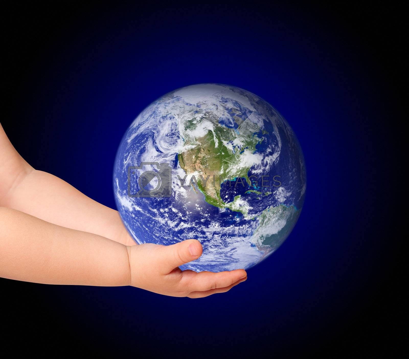 Little girl hold globe on black